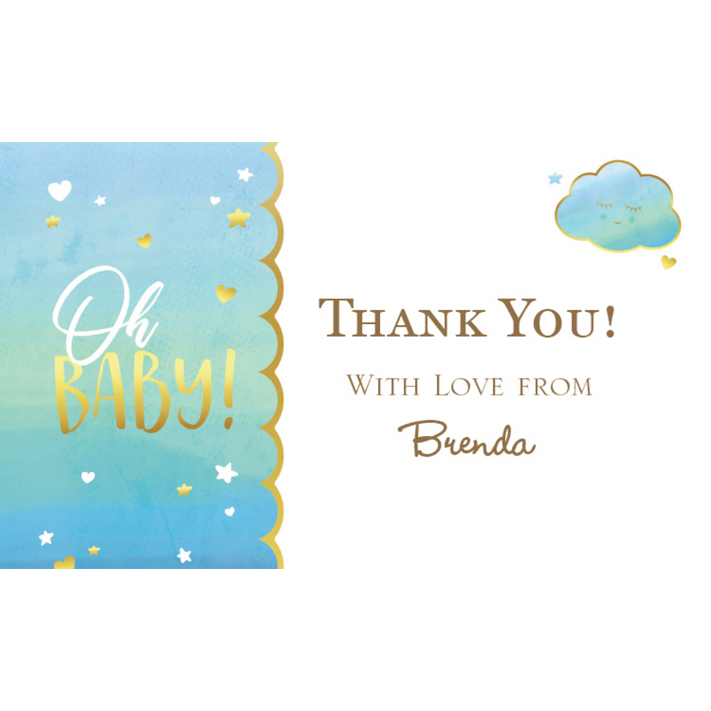 Custom Oh Baby Boy Thank You Note Image #1