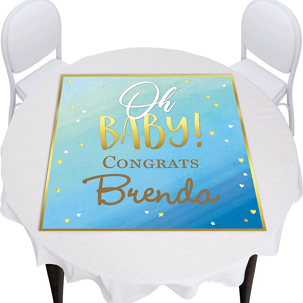 Custom Oh Baby Boy Square Table Topper Image #1