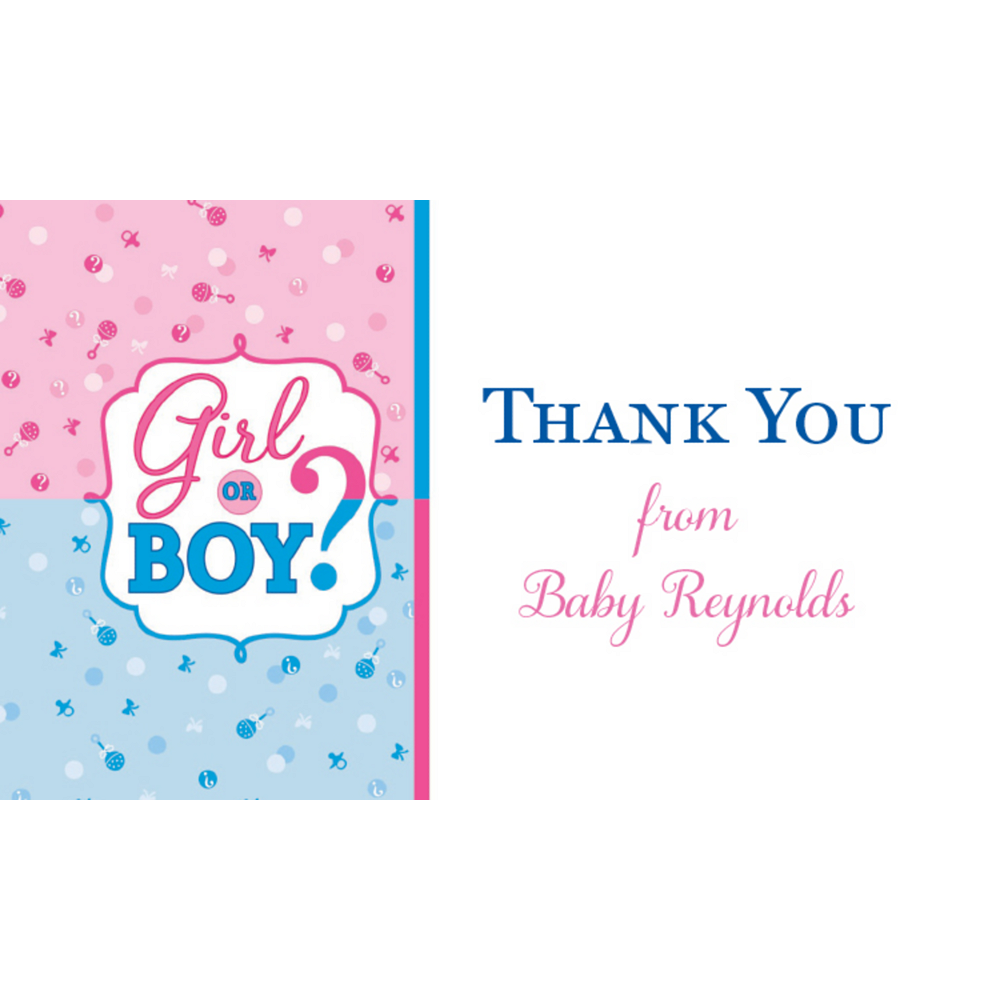 Custom Girl or Boy Gender Reveal Thank You Notes Image #1