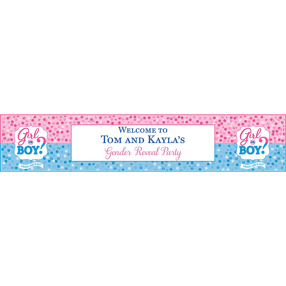 Custom Girl or Boy Gender Reveal Table Runner Image #1
