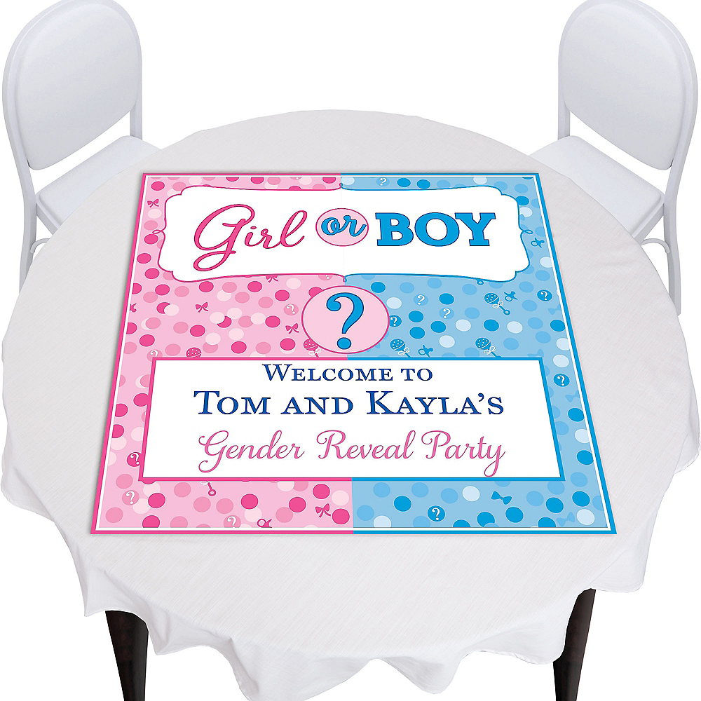 Custom Girl or Boy Gender Reveal Square Table Topper Image #1