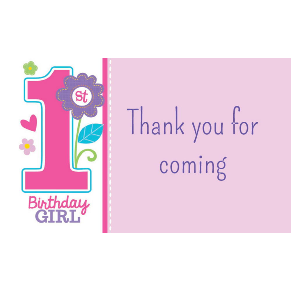 Custom Sweet Birthday Girl Thank You Notes Image #1