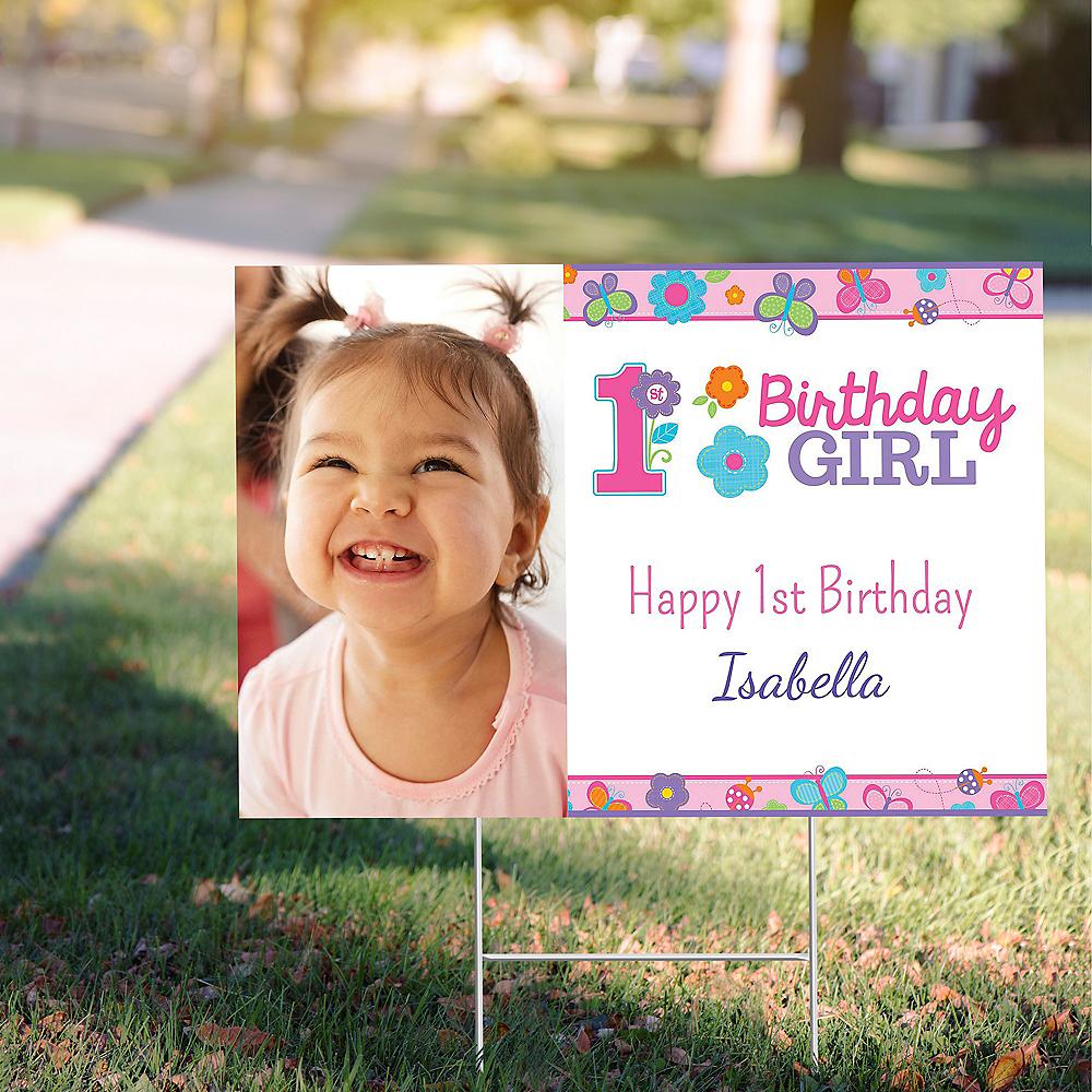Custom Sweet Birthday Girl Photo Yard Sign Image #1