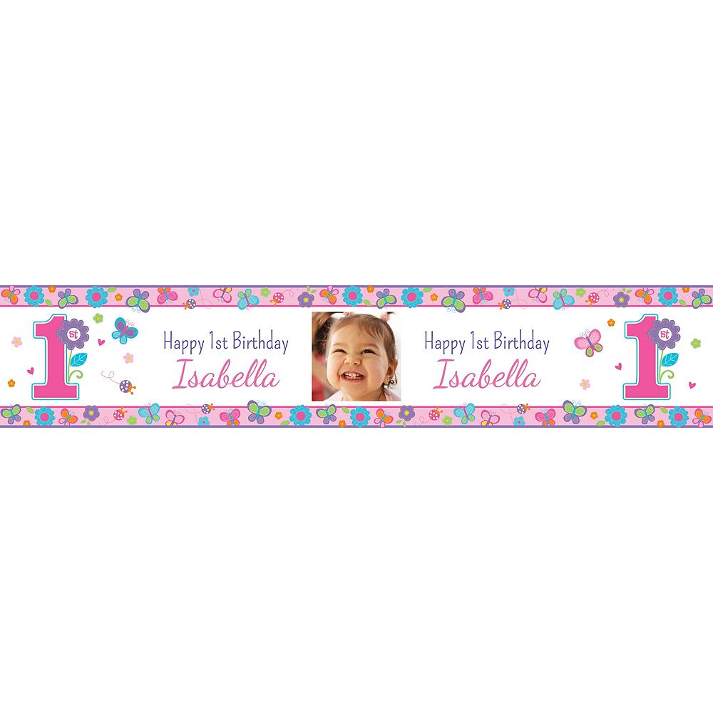 Custom Sweet Birthday Girl Photo Table Runner Image #1