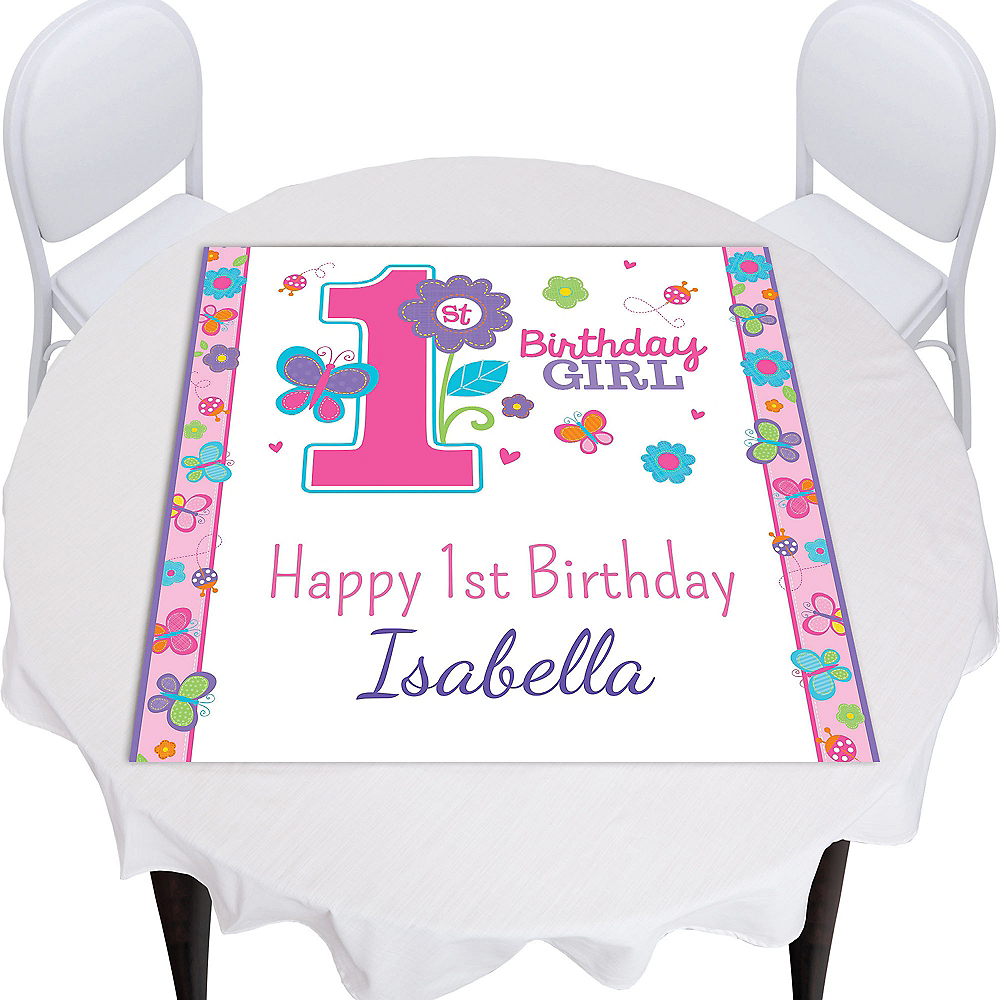 Custom Sweet Birthday Girl Square Table Topper Image #1