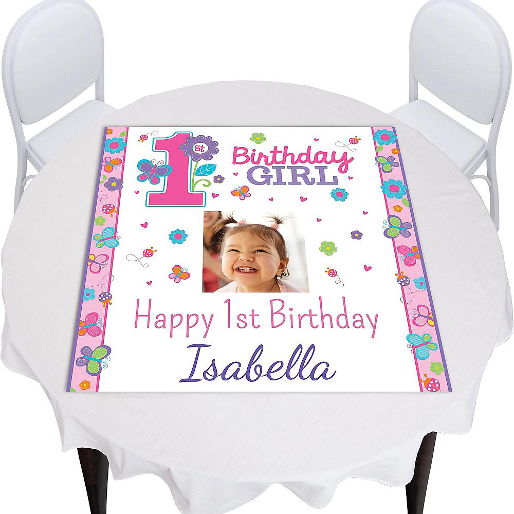 Custom Sweet Birthday Girl Photo Square Table Topper Image #1