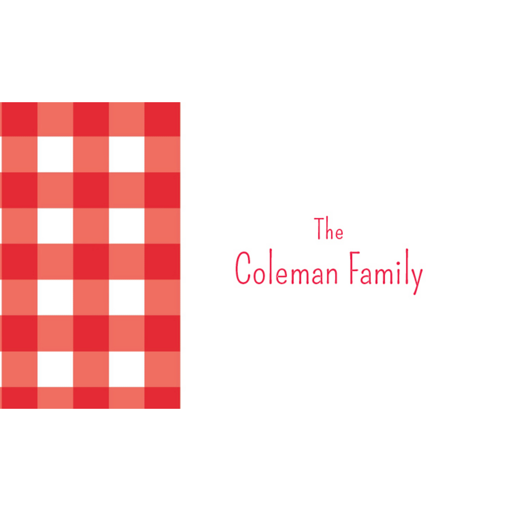 Custom American Summer Red Gingham Thank You Notes Image #1