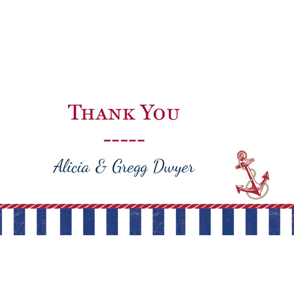 Custom Striped Nautical Thank You Notes  Image #1