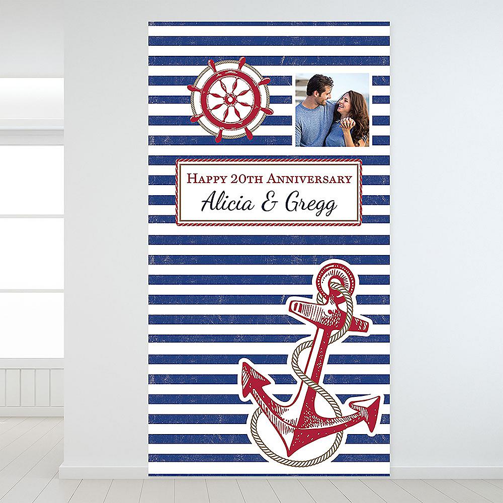 Custom Striped Nautical Photo Backdrop Image #1