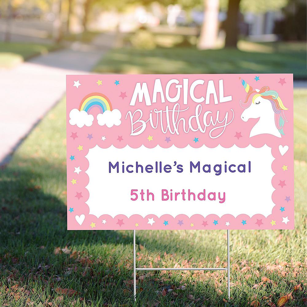 Custom Magical Rainbow Birthday Yard Sign Image #1