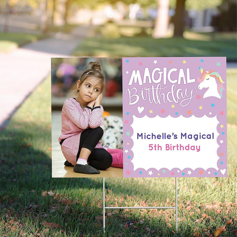 Custom Magical Rainbow Birthday Photo Yard Sign Image #1