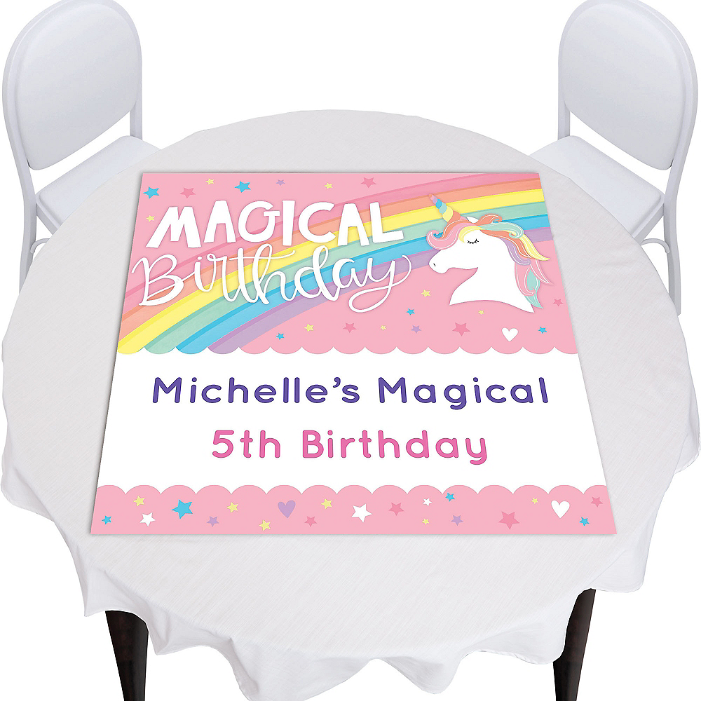 Custom Magical Rainbow Birthday Square Photo Table Topper Image #1