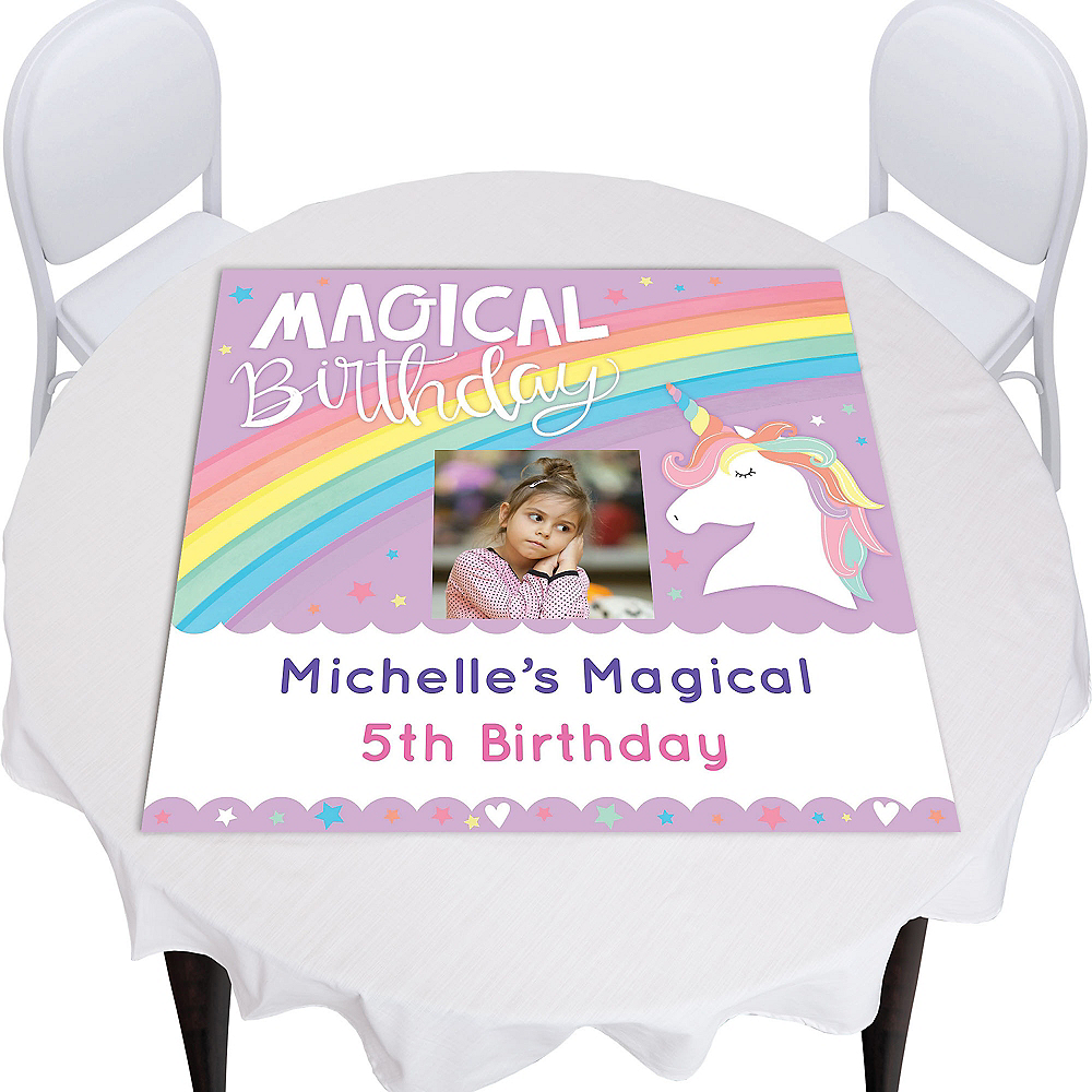 Custom Magical Rainbow Birthday Square Table Topper Image #1