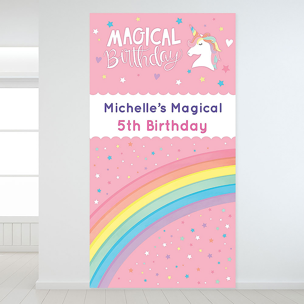 Custom Magical Rainbow Birthday Backdrop Image #1
