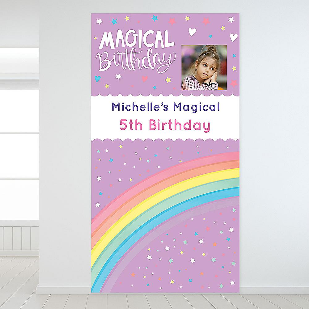 Custom Magical Rainbow Birthday Photo Backdrop Image #1
