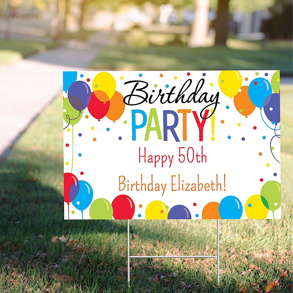 Custom Rainbow Balloon Bash Yard Sign Image #1