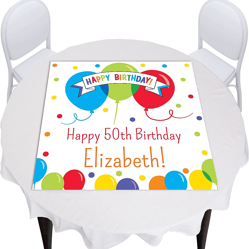 Custom Rainbow Balloon Bash Square Table Topper Image #1