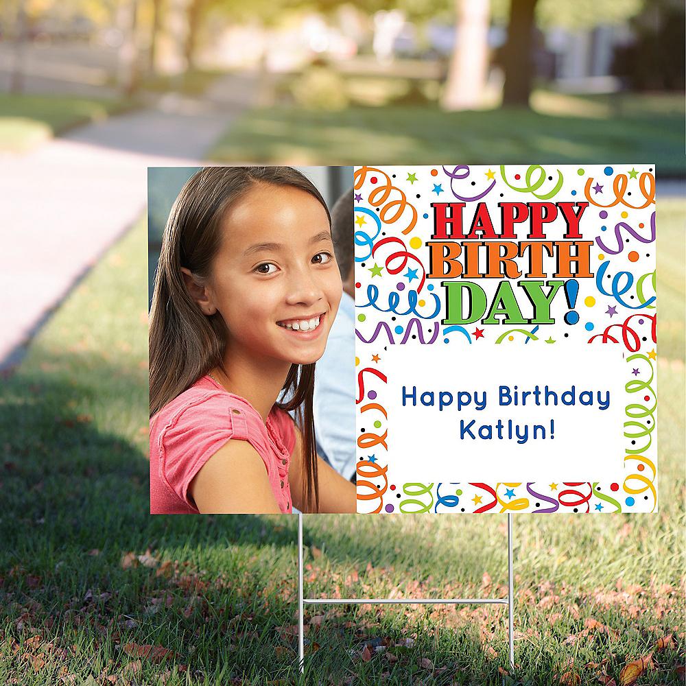 Custom Colorful Birthday Photo Yard Sign Image #1