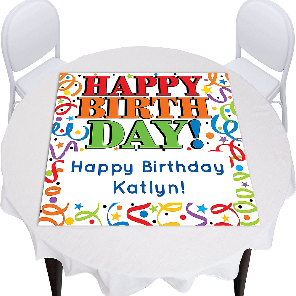 Custom Colorful Birthday Square Photo Table Topper Image #1