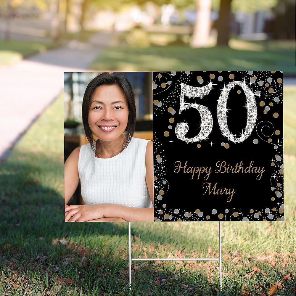 Custom Sparkling Celebration 50 Photo Yard Sign Image #1