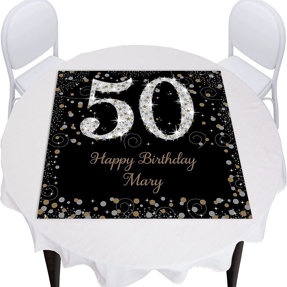 Custom Sparkling Celebration 50 Square Photo Table Topper Image #1
