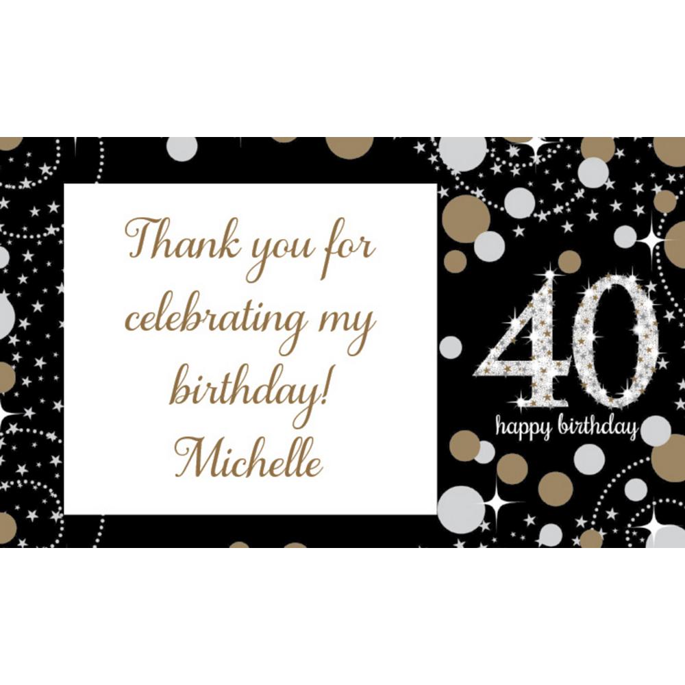 Custom Sparkling Celebration 40 Thank You Notes Image #1