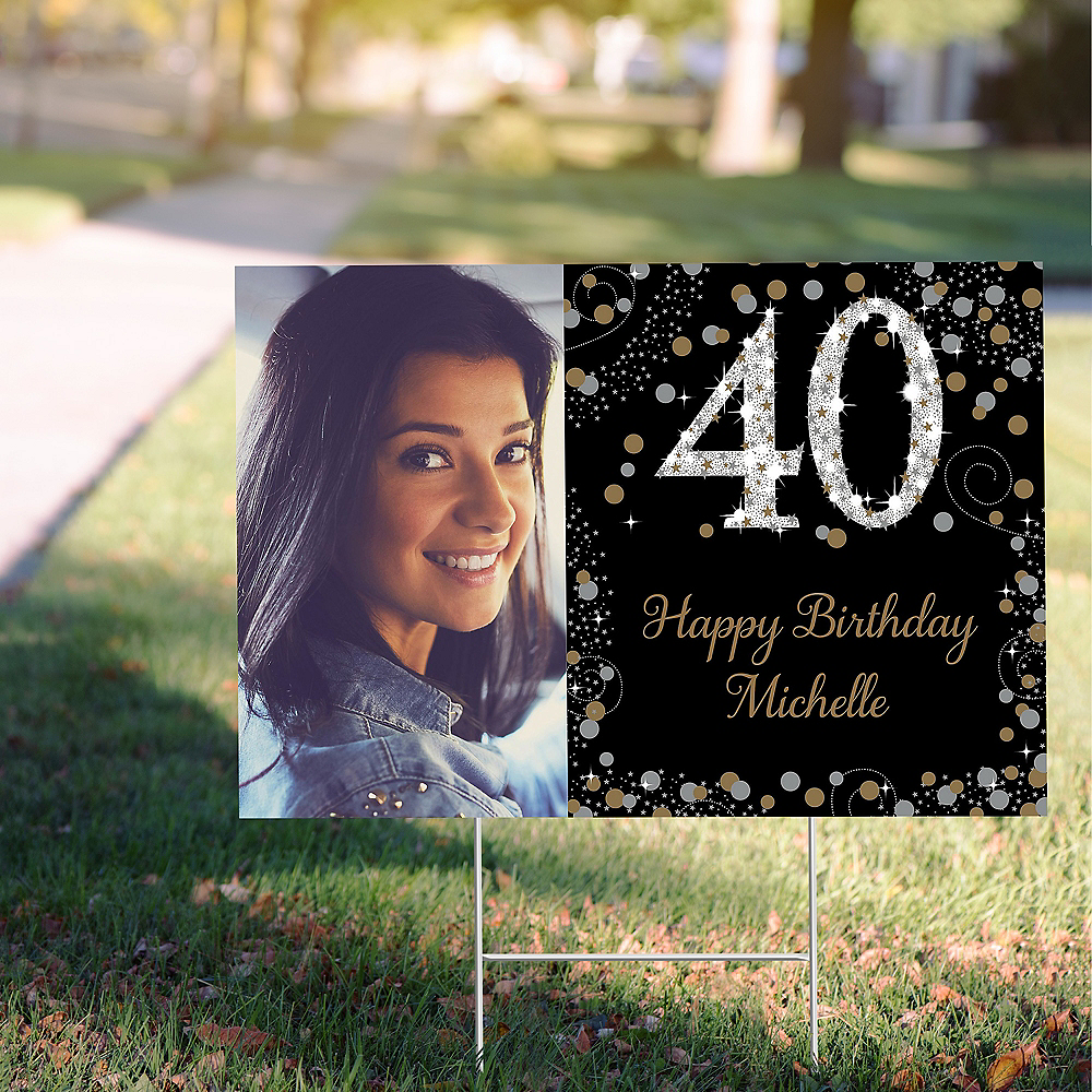 Custom Sparkling Celebration 40 Photo Yard Sign Image #1