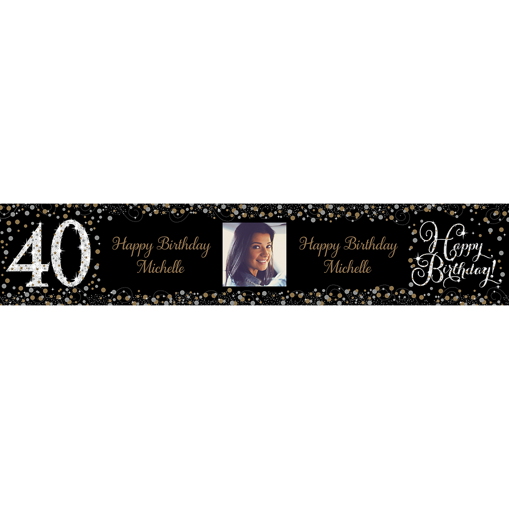Custom Sparkling Celebration 40 Photo Table Runner Image #1
