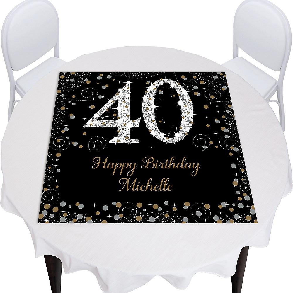 Custom Sparkling Celebration 40 Square Photo Table Topper Image #1