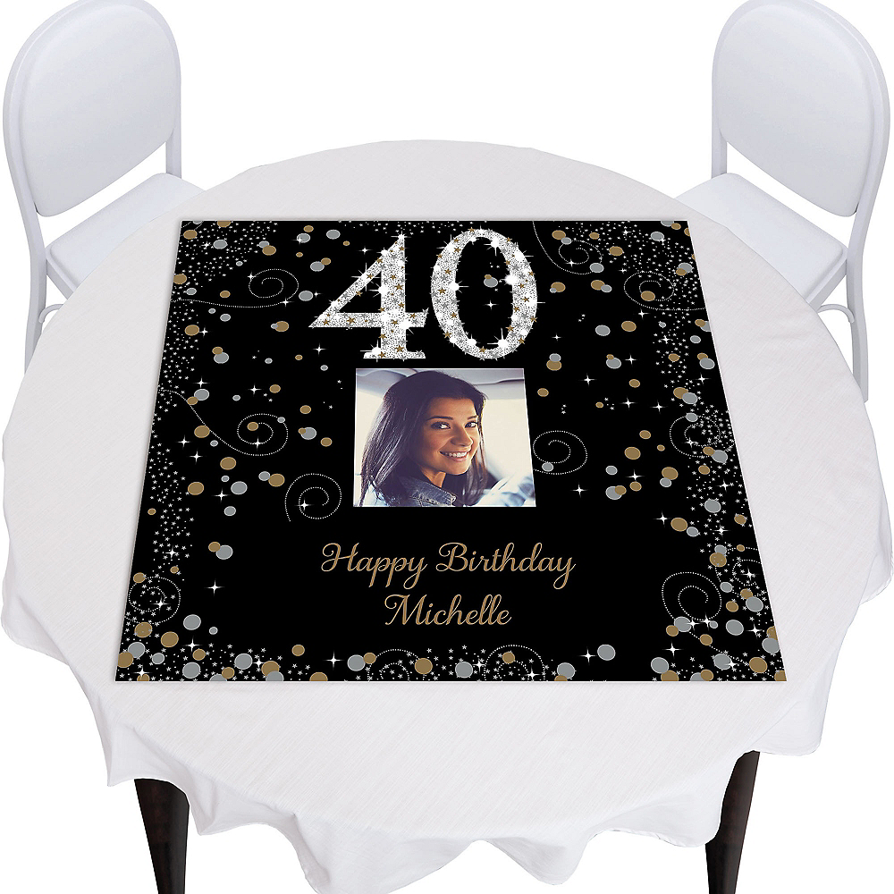 Custom Sparkling Celebration 40 Square Table Topper Image #1