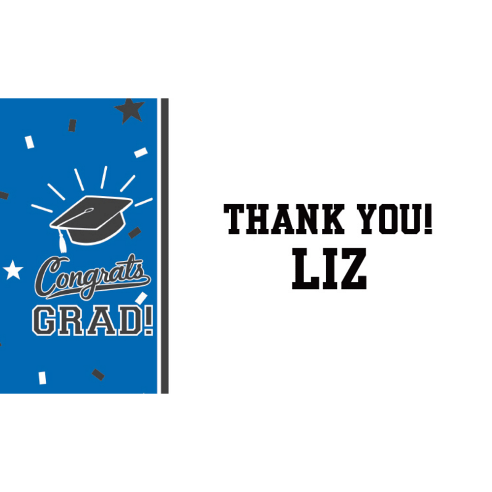 Custom School Colors Pride Blue Thank You Note  Image #1