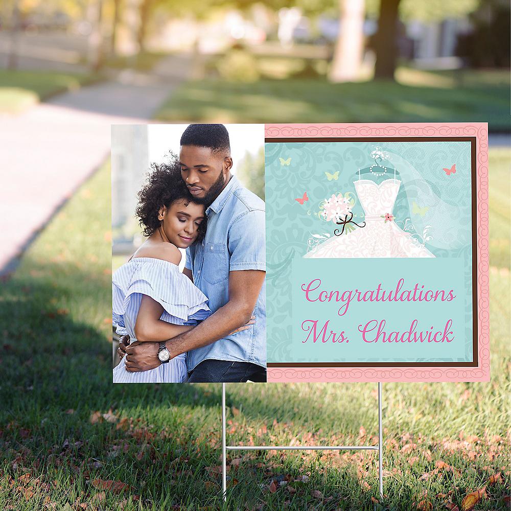 Custom Something Blue Bridal Shower Photo Yard Sign Image #1