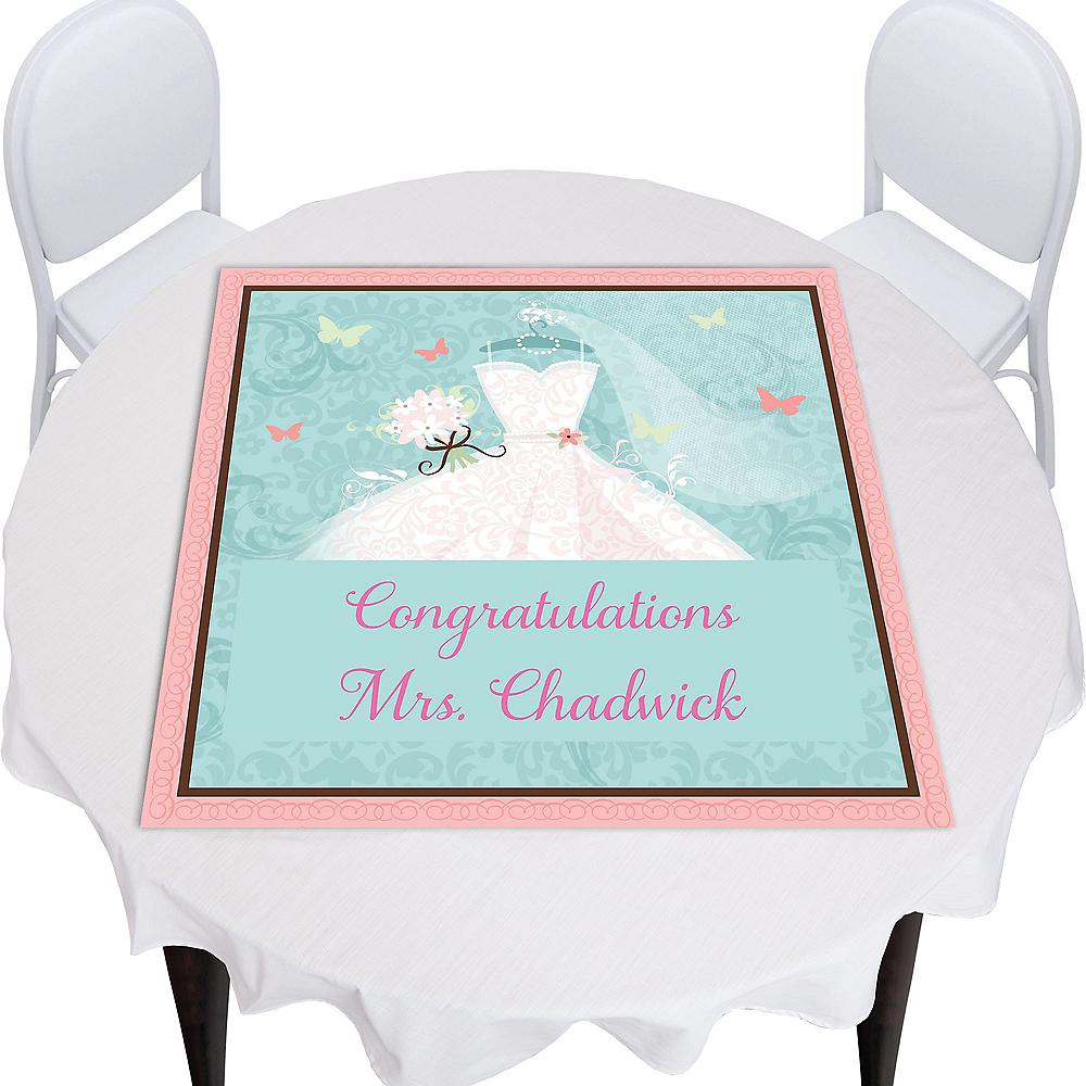 Custom Something Blue Bridal Shower Square Table Topper Image #1