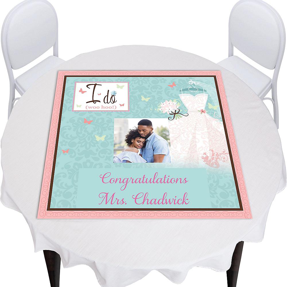 Custom Something Blue Bridal Shower Square Photo Table Topper Image #1