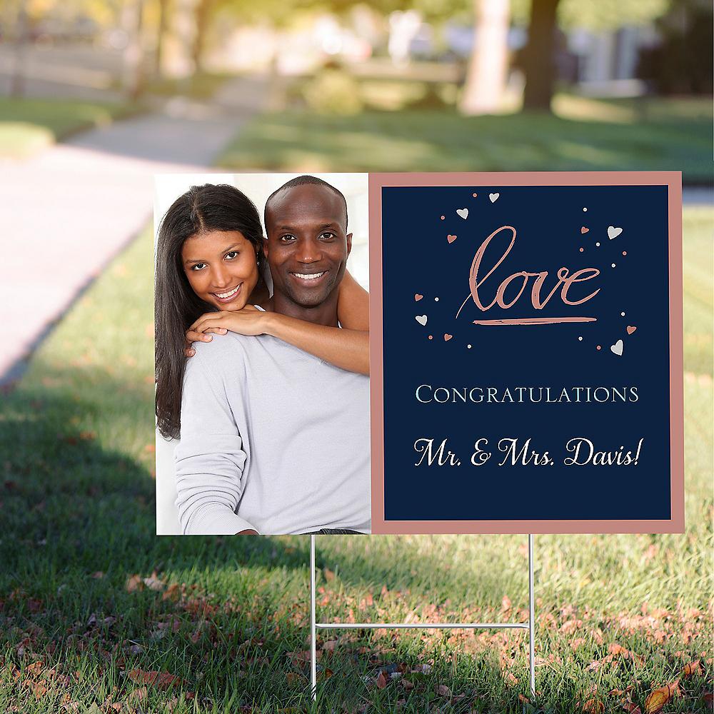 Custom Navy Love Bridal Photo Yard Sign Image #1