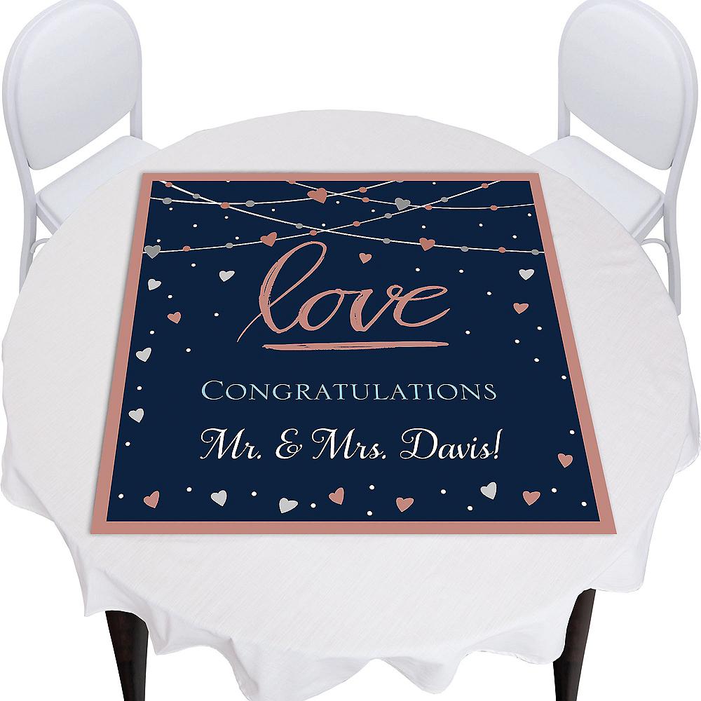 Custom Navy Love Bridal Square Table Topper Image #1