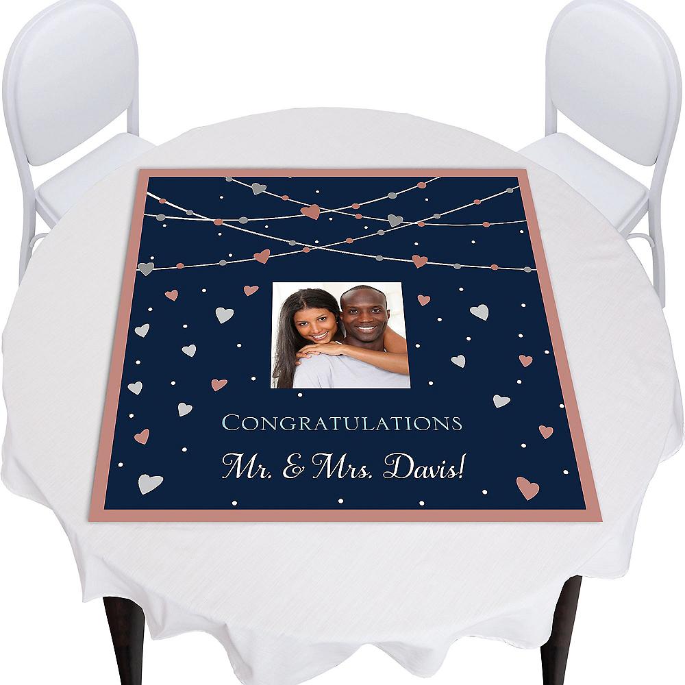 Custom Navy Love Bridal Square Photo Table Topper Image #1