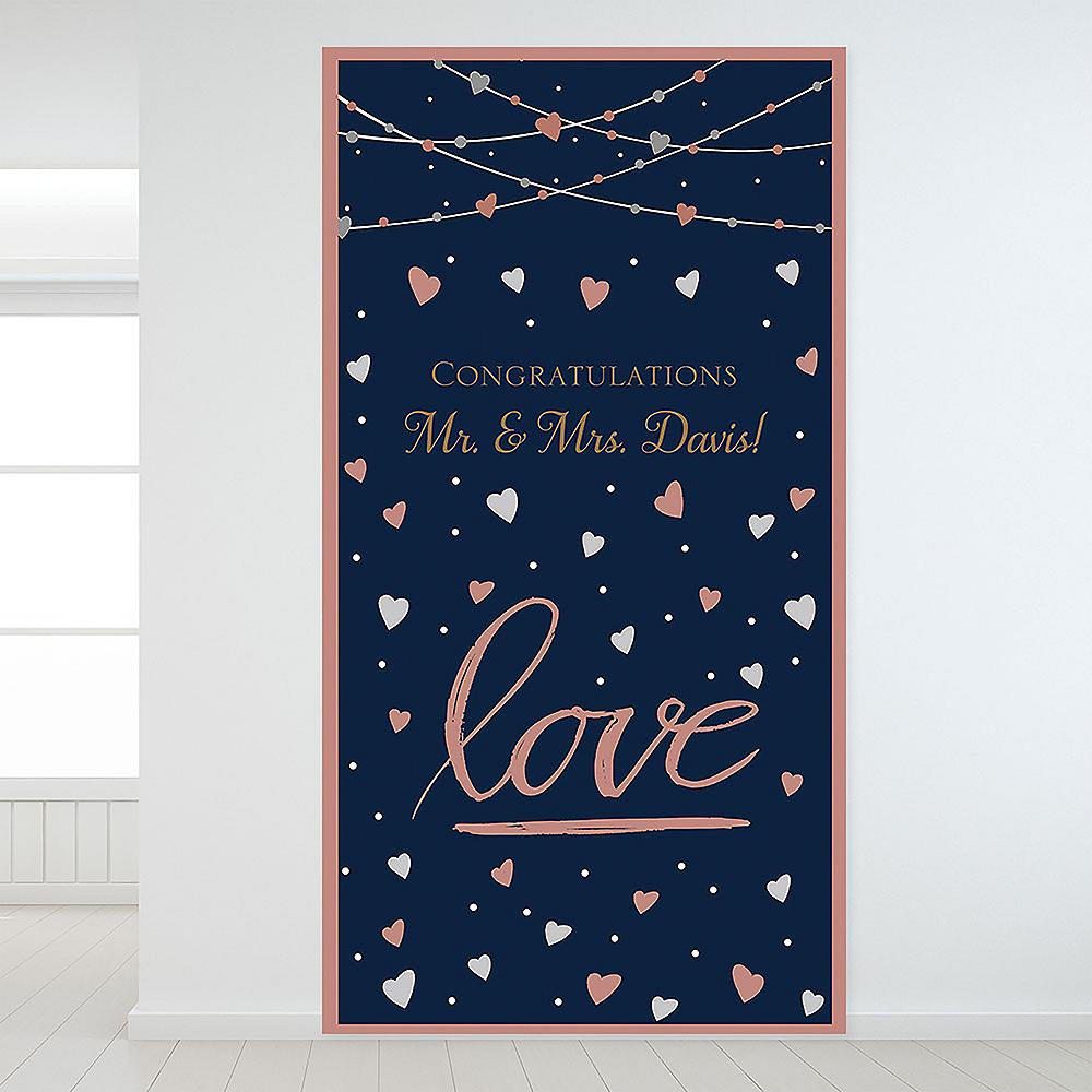 Custom Navy Love Bridal Backdrop Image #1