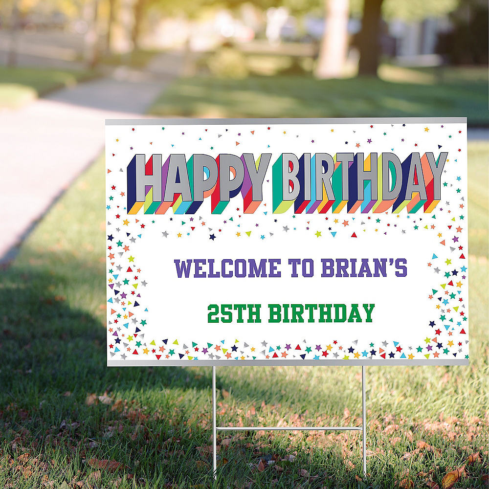 Custom Here's to Your Birthday Yard Sign Image #1