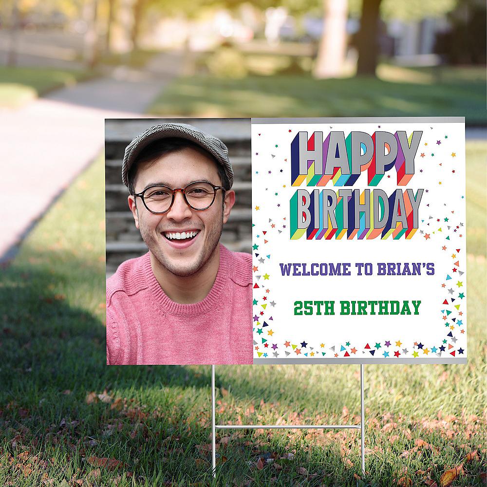 Custom Here's to Your Birthday Photo Yard Sign Image #1