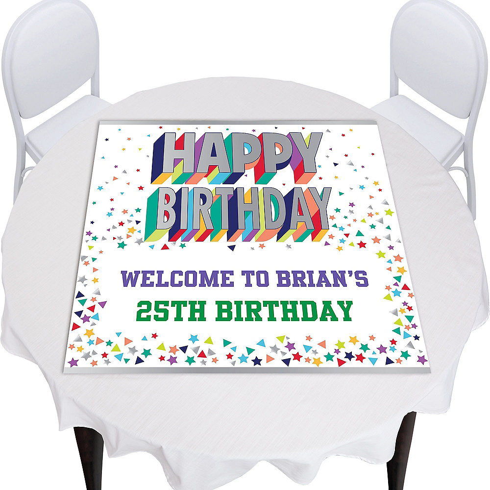 Custom Here's to Your Birthday Square Photo Table Topper Image #1