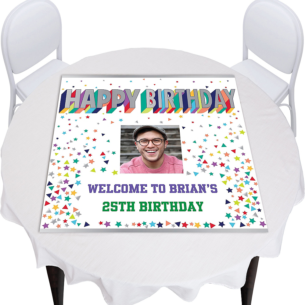 Custom Here's to Your Birthday Square Table Topper Image #1
