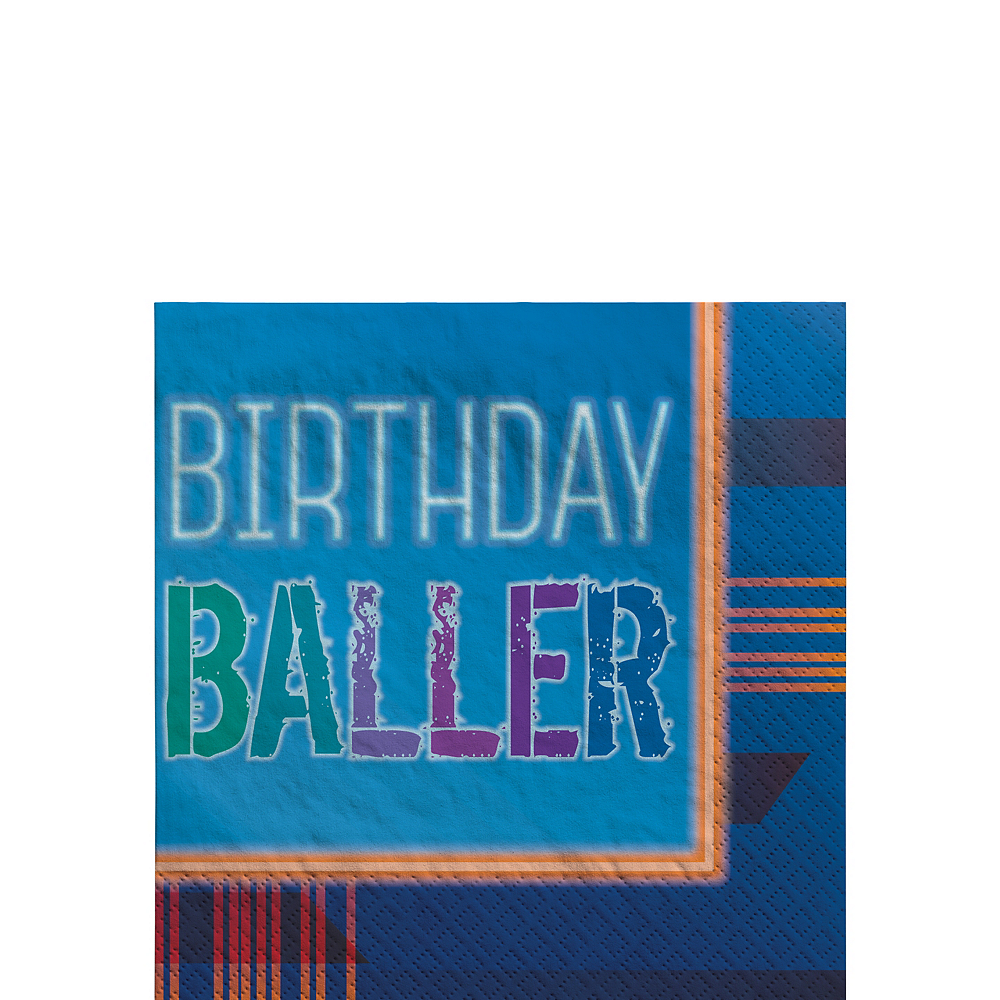 Birthday Baller Beverage Napkins 16ct Image #1