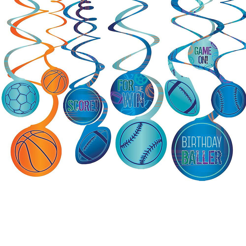 Birthday Baller Swirl Decorations 12ct Image #1