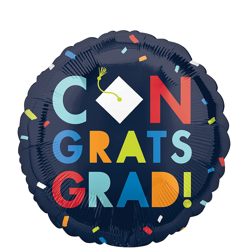 Navy Class of Awesome Congrats Graduation Balloon, 18in Image #1