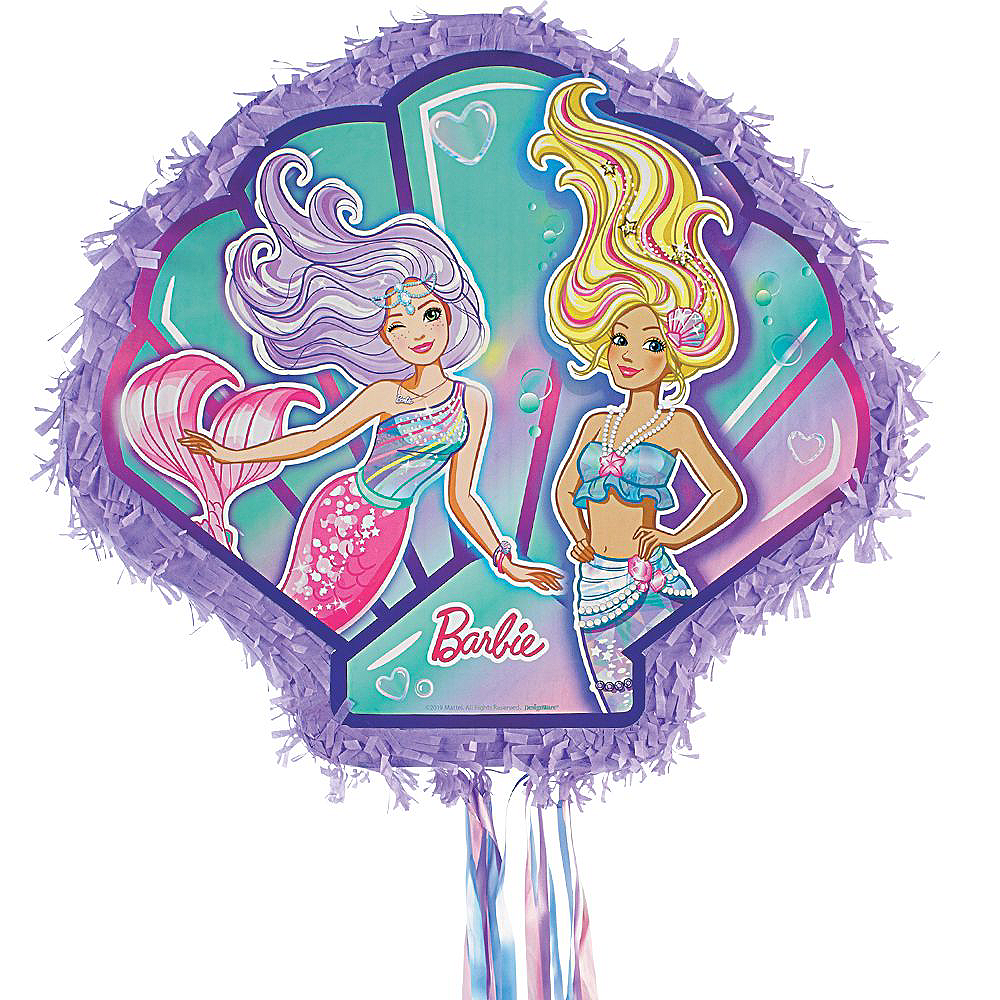 Pull String Barbie Mermaid Pinata with Candy & Favors Image #2