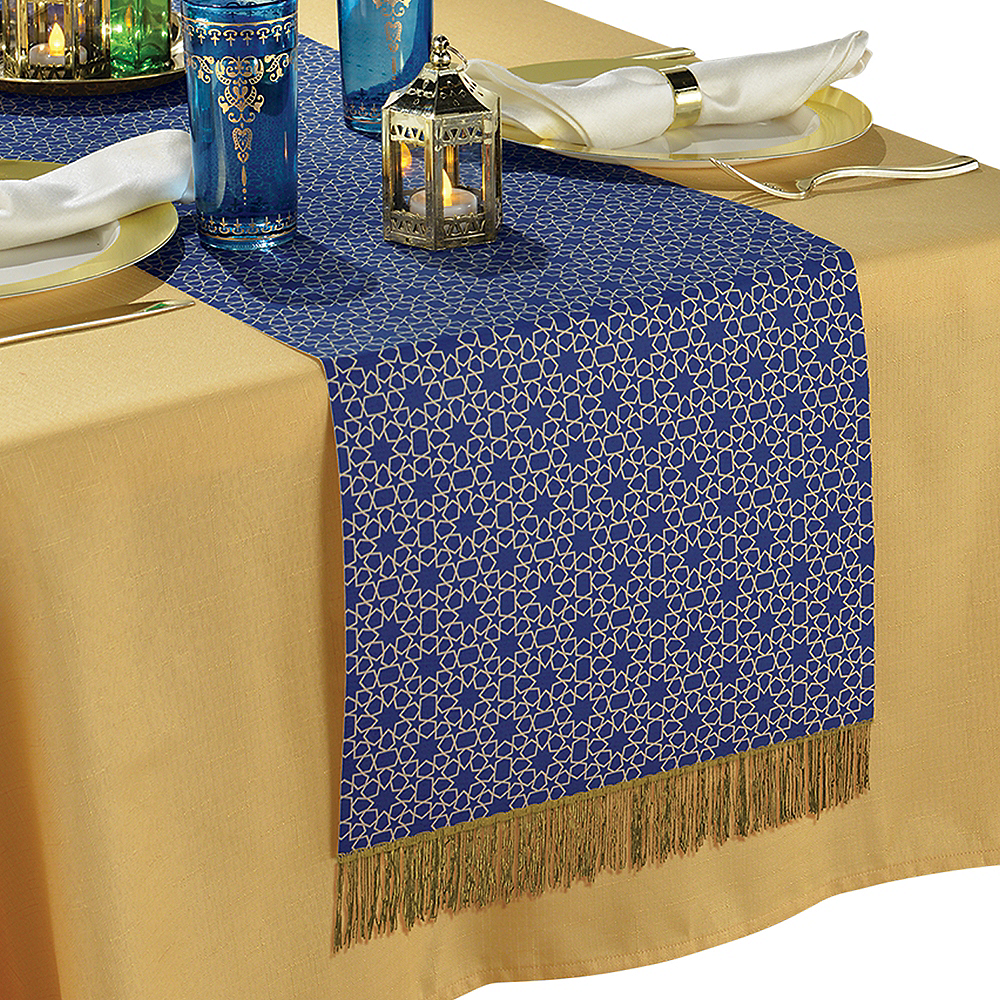 Blue & Gold Eid al-Fitr Fabric Table Runner Image #1