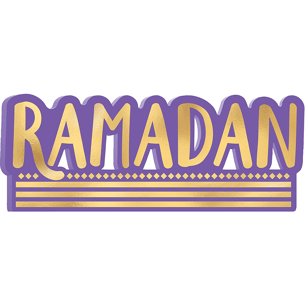 Metallic Gold & Purple Ramadan Block Letter Sign Image #1