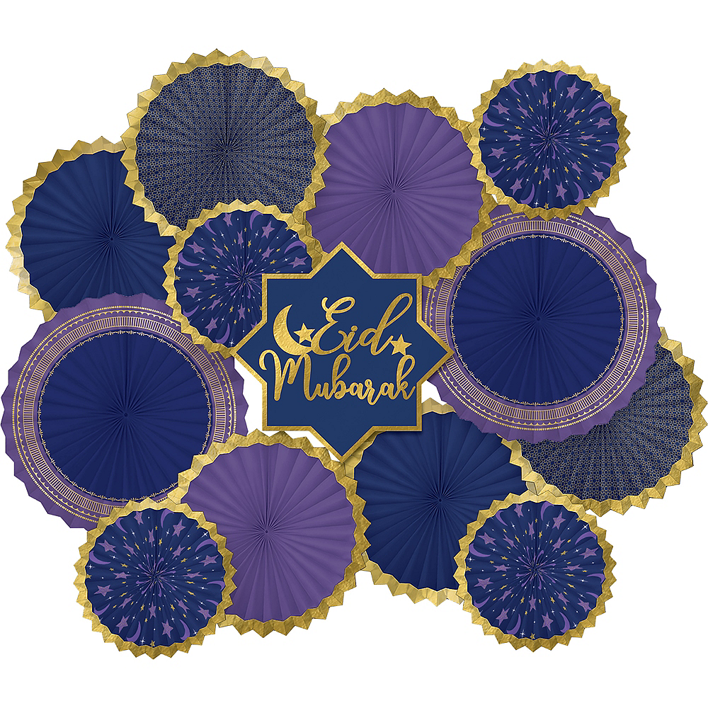 Eid Mubarak Paper Fan Decorating Kit 13pc Image #1