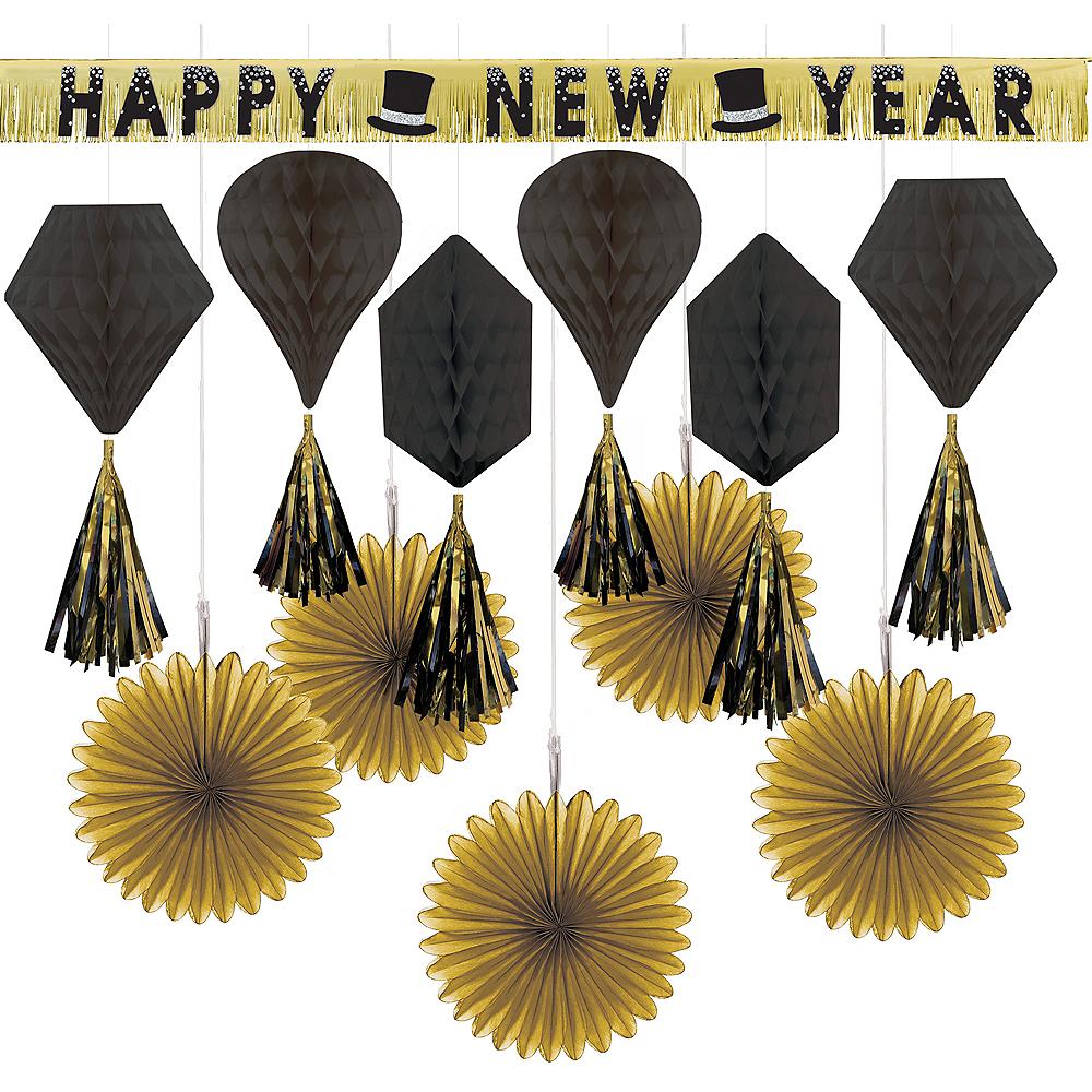 Black & Gold New Year's Eve Decorating Kit Image #1